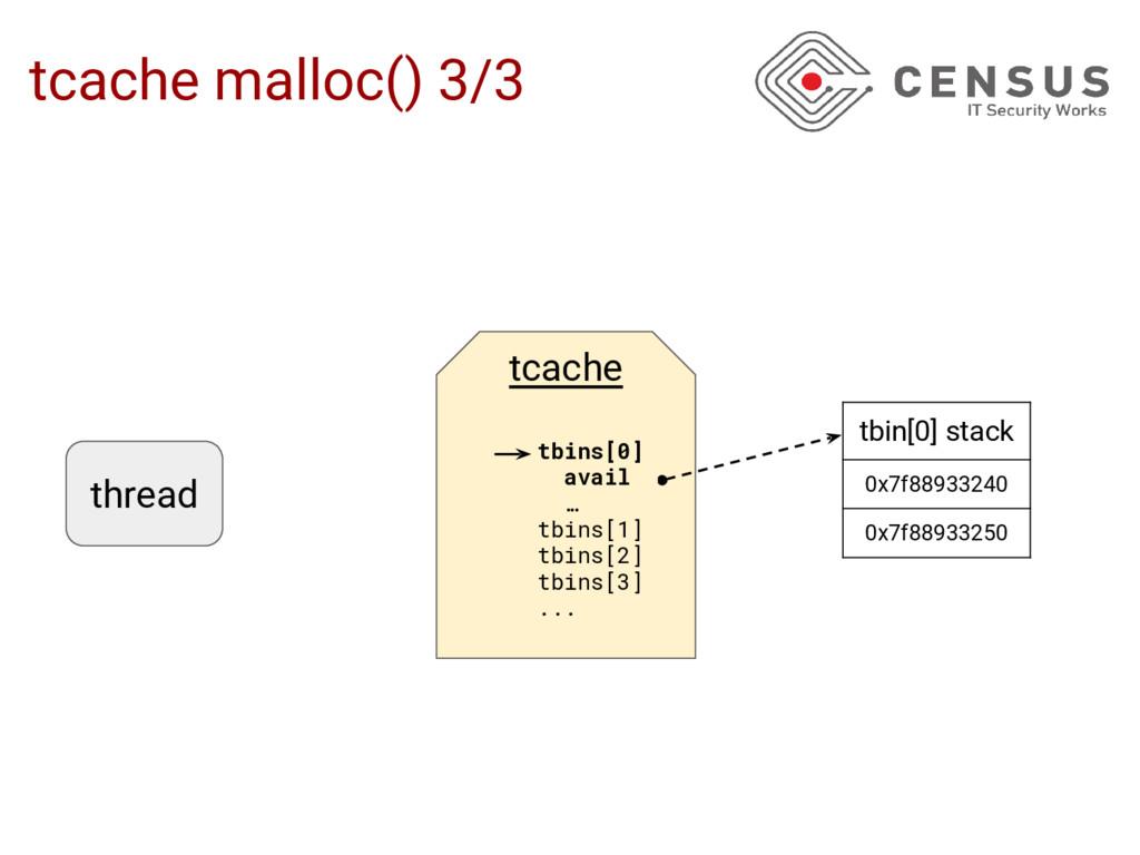tcache malloc() 3/3 tbin[0] stack 0x7f88933240 ...