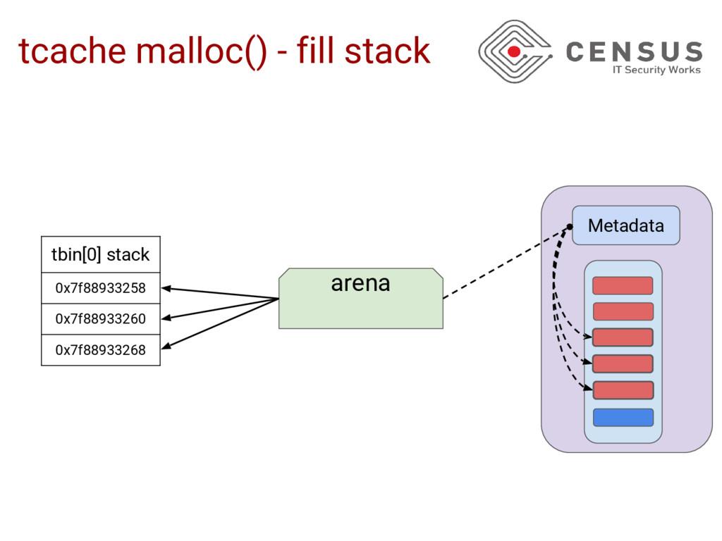 tcache malloc() - fill stack tbin[0] stack 0x7f...
