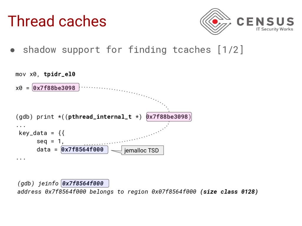 Thread caches (gdb) print *((pthread_internal_t...