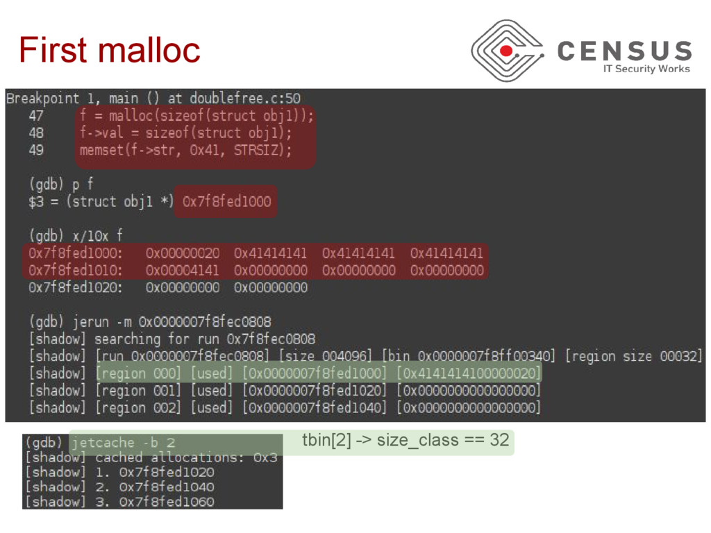First malloc tbin[2] -> size_class == 32