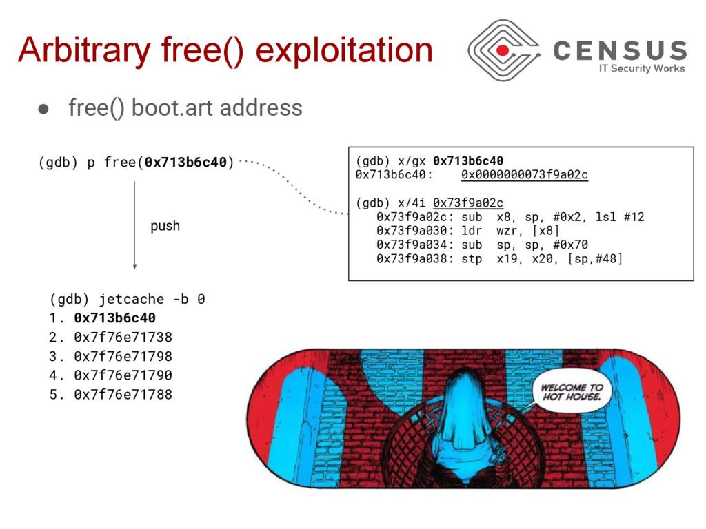 Arbitrary free() exploitation (gdb) p free(0x71...