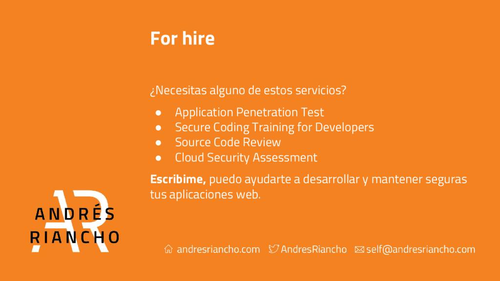 For hire ¿Necesitas alguno de estos servicios? ...