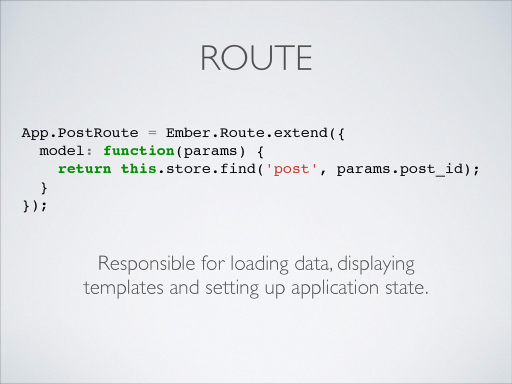 ROUTE Responsible for loading data, displaying ...