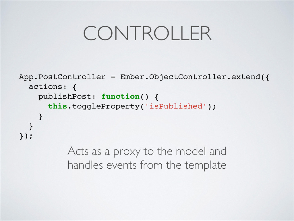 CONTROLLER Acts as a proxy to the model and	 