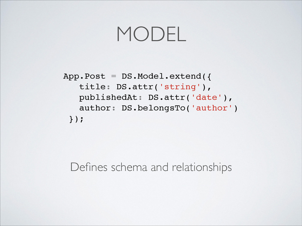 MODEL Defines schema and relationships App.Post ...