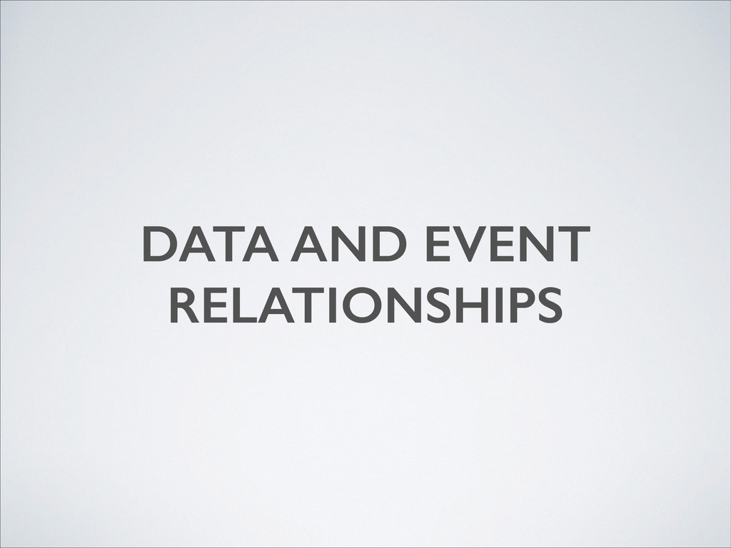DATA AND EVENT RELATIONSHIPS