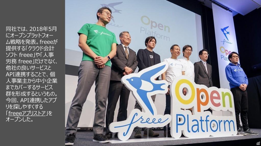 44 同社では、2018年5月 にオープンプラットフォー ム戦略を発表。freeeが 提供する...