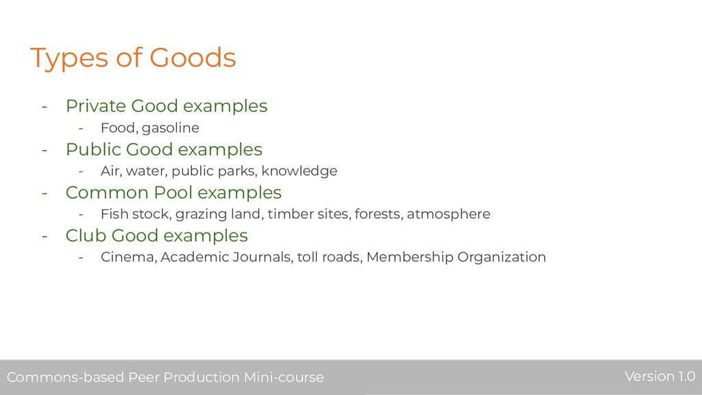 Types of Goods - Private Good examples - Food, ...