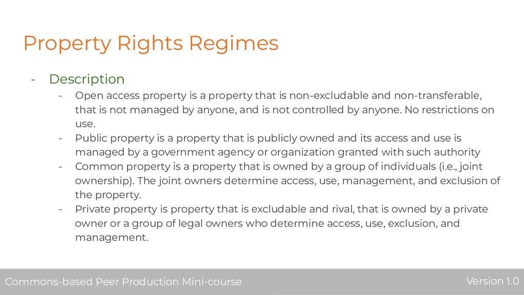 Property Rights Regimes - Description - Open ac...