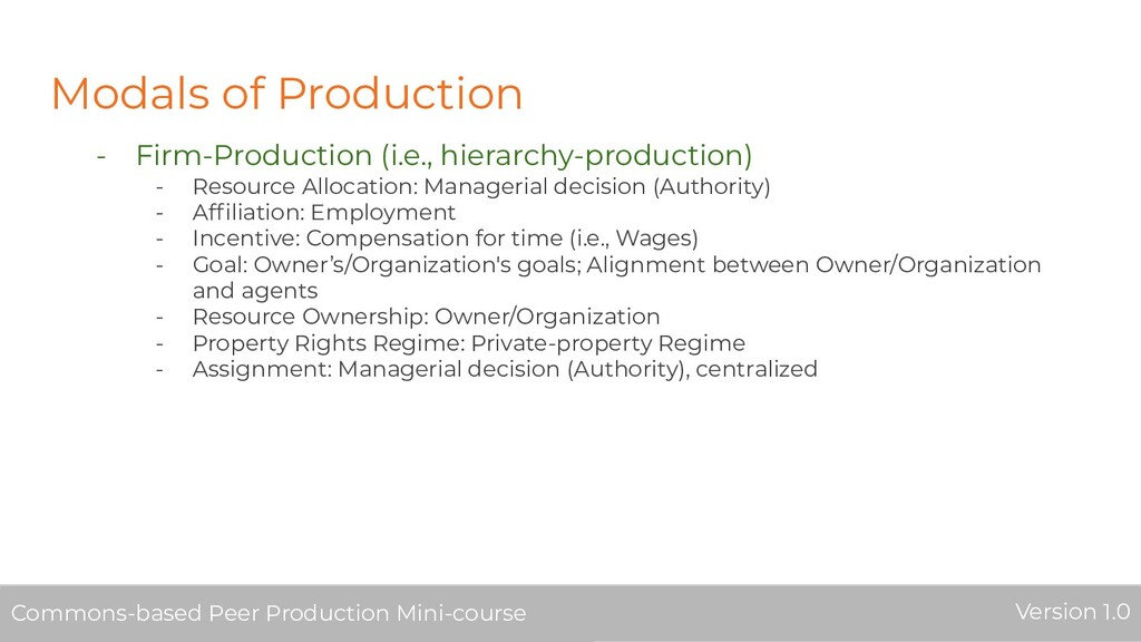 Modals of Production - Firm-Production (i.e., h...