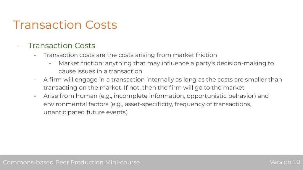 Transaction Costs - Transaction Costs - Transac...