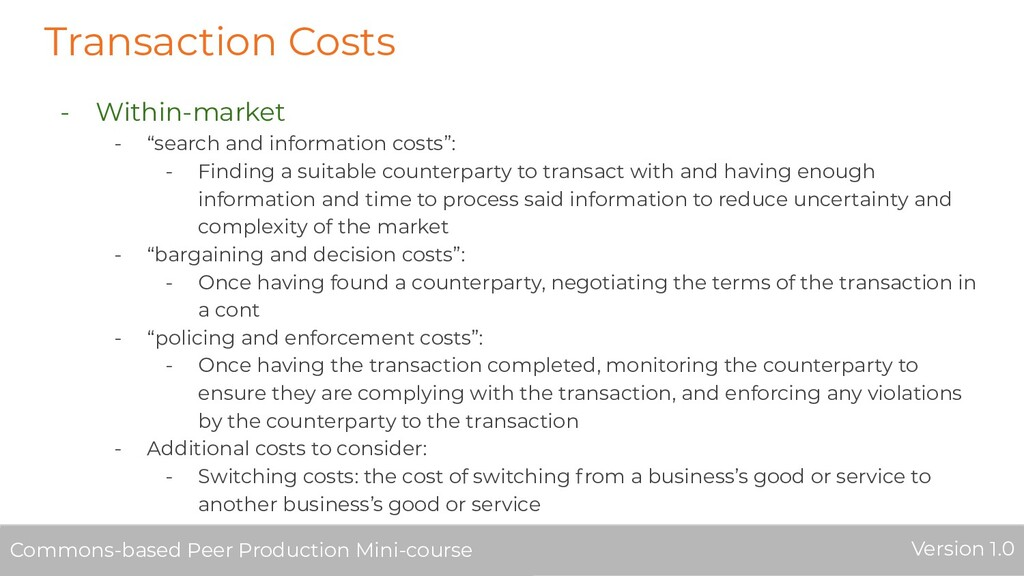 """Transaction Costs - Within-market - """"search and..."""