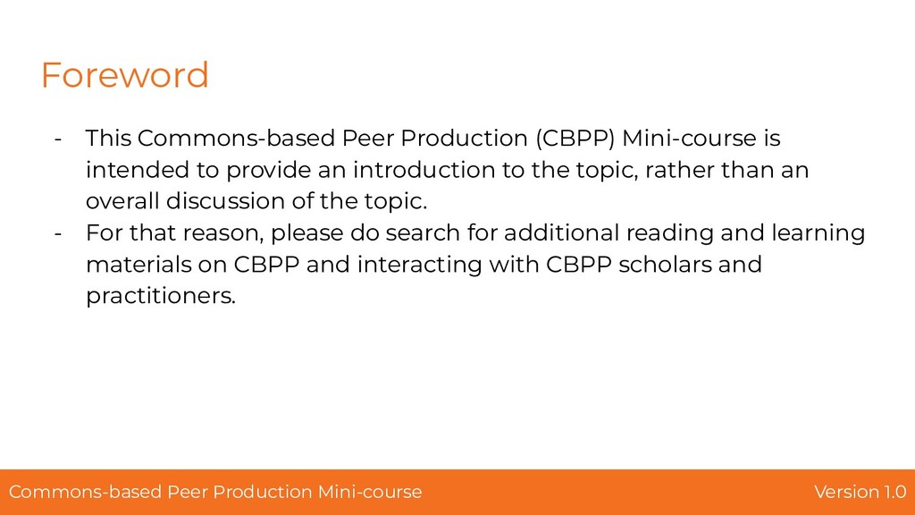Foreword - This Commons-based Peer Production (...