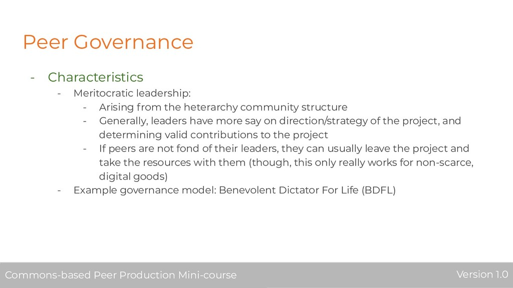 Peer Governance - Characteristics - Meritocrati...