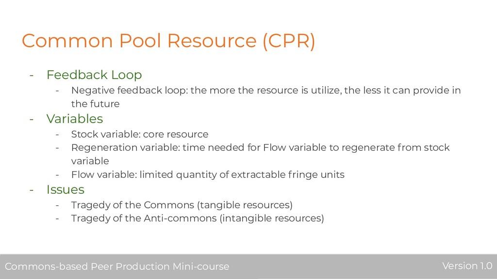 Common Pool Resource (CPR) - Feedback Loop - Ne...