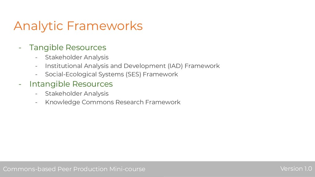 Analytic Frameworks - Tangible Resources - Stak...