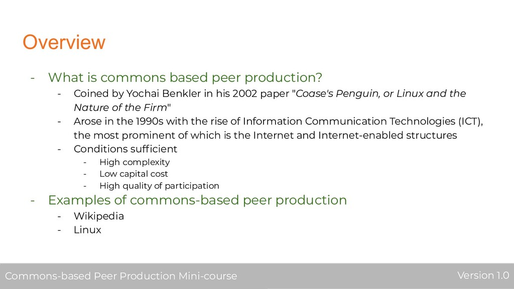 Overview - What is commons based peer productio...