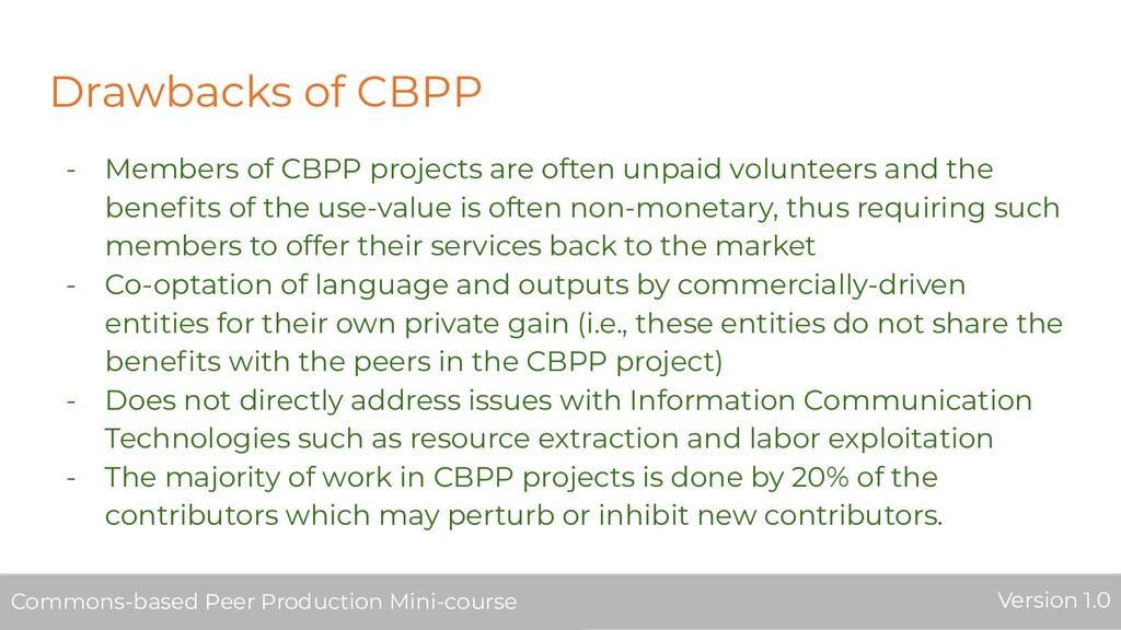 Drawbacks of CBPP - Members of CBPP projects ar...