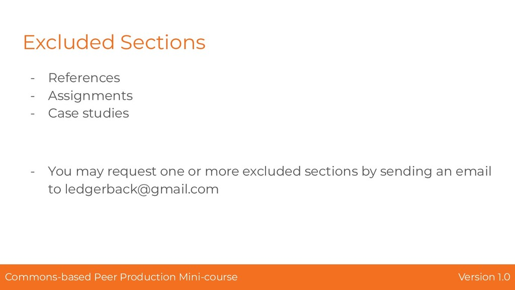 Excluded Sections - References - Assignments - ...
