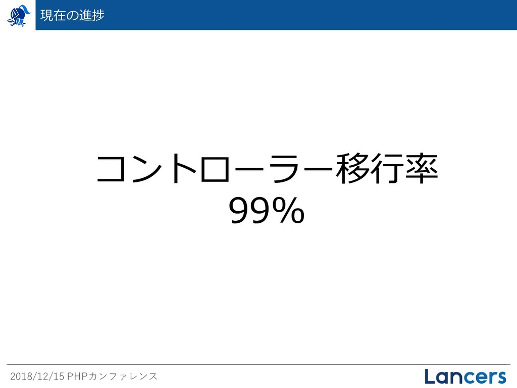 2018/12/15 PHPカンファレンス 現在の進捗 コントローラー移行率 99%