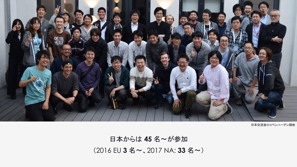 日本からは 45 名〜が参加 (2016 EU 3 名〜、2017 NA: 33 名〜) 日本...