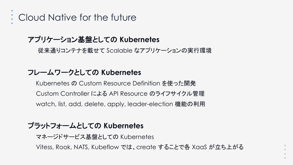 Cloud Native for the future アプリケーション基盤としての Kube...