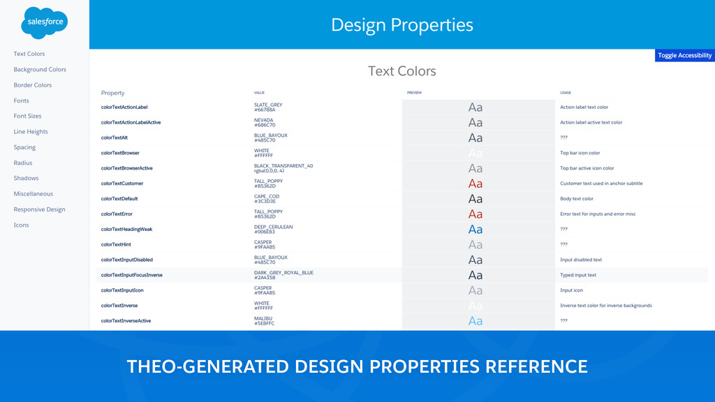 THEO-GENERATED DESIGN PROPERTIES REFERENCE