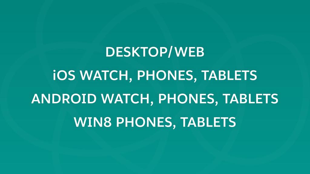 DESKTOP/WEB iOS WATCH, PHONES, TABLETS ANDROID ...