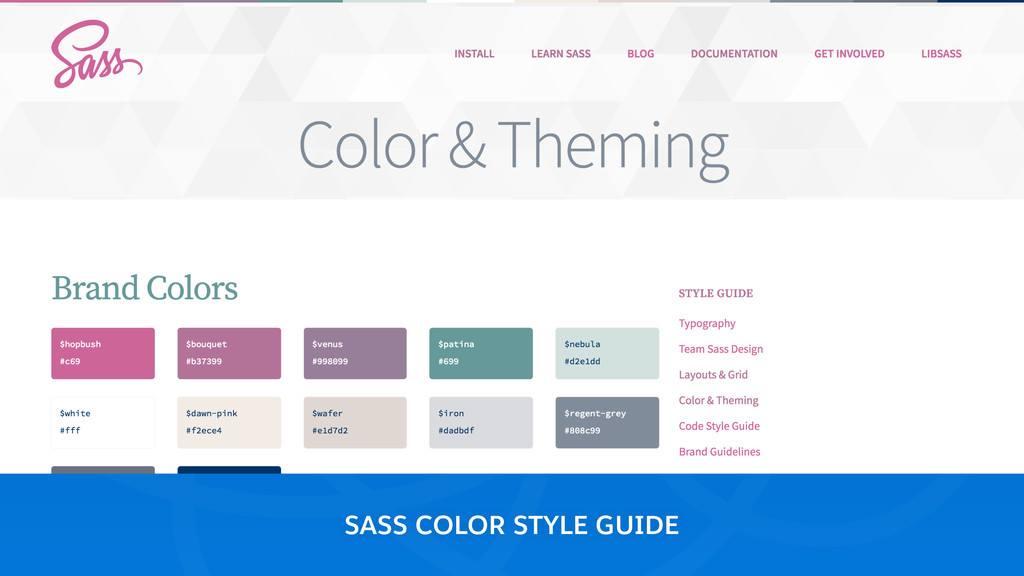 SASS COLOR STYLE GUIDE