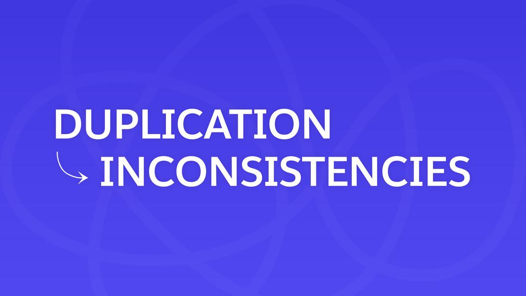 DUPLICATION 䡿 INCONSISTENCIES