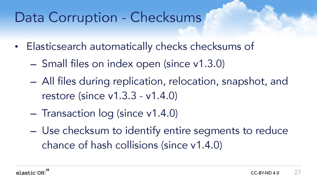 { } CC-BY-ND 4.0 Data Corruption - Checksums • ...