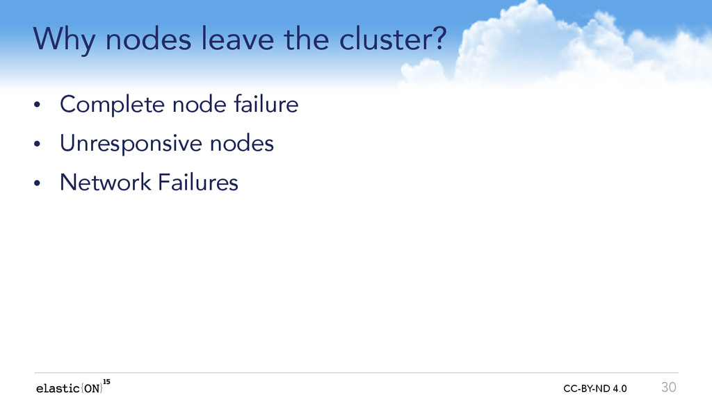 { } CC-BY-ND 4.0 Why nodes leave the cluster? •...