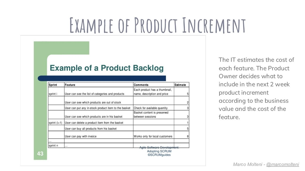 Example of Product Increment The IT estimates t...