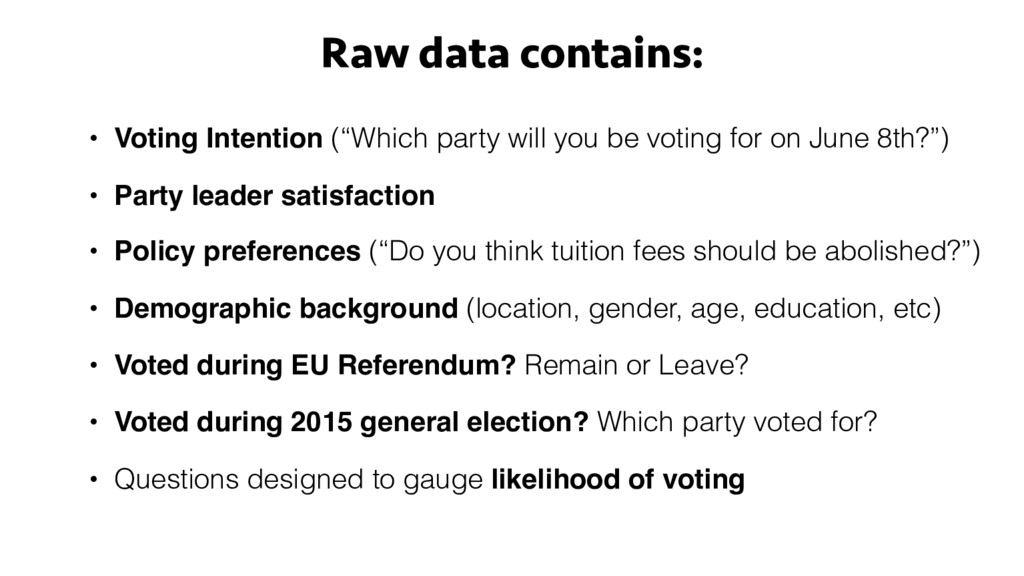 "Raw data contains: • Voting Intention (""Which p..."