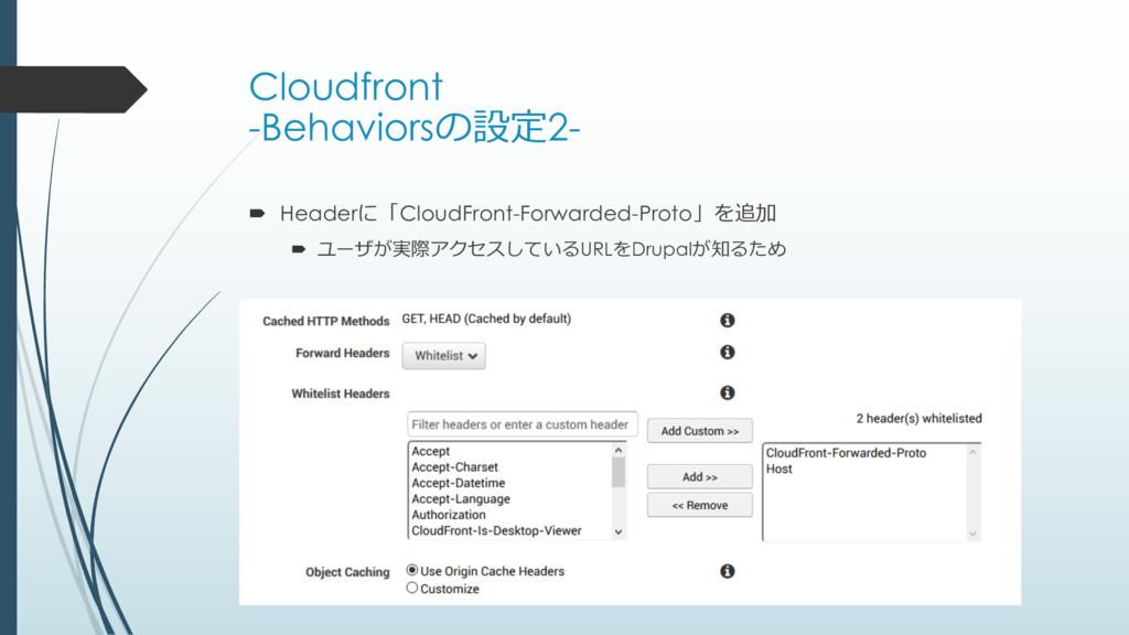 Cloudfront -Behaviorsの設定2- ´ Headerに「CloudFront...