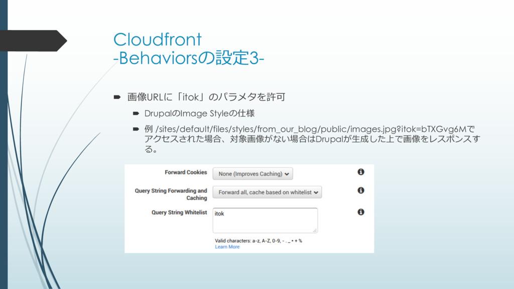 Cloudfront -Behaviorsの設定3- ´ 画像URLに「itok」のパラメタを...
