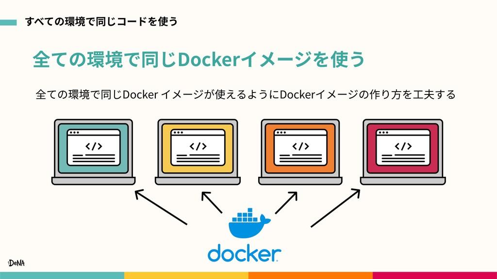 全ての環境で同じDockerイメージを使う すべての環境で同じコードを使う 全ての環境で同じD...