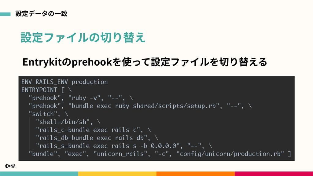 設定ファイルの切り替え 設定データの⼀致 Entrykitのprehookを使って設定ファイル...