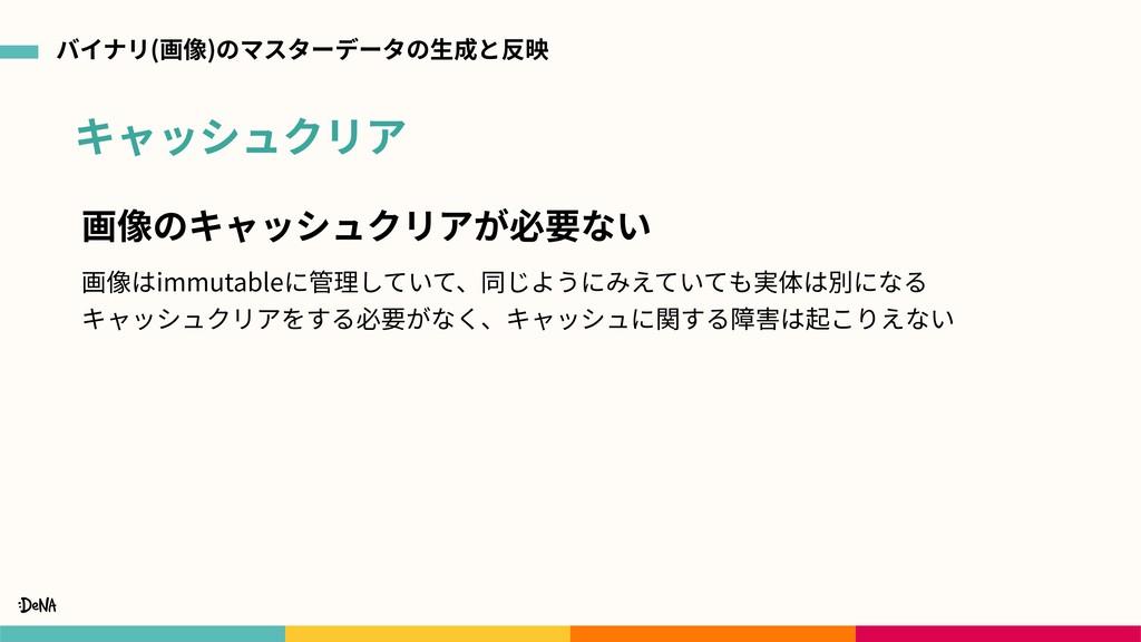 キャッシュクリア バイナリ(画像)のマスターデータの⽣成と反映 画像のキャッシュクリアが必要な...