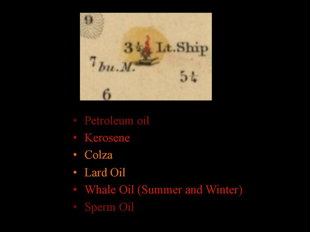 • Petroleum oil • Kerosene • Colza • Lard O...