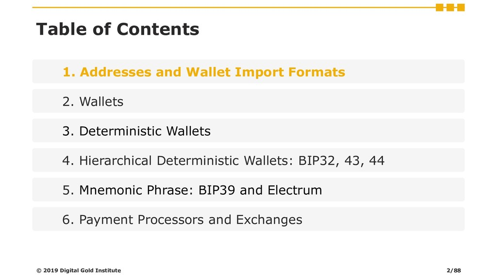Table of Contents 1. Addresses and Wallet Impor...
