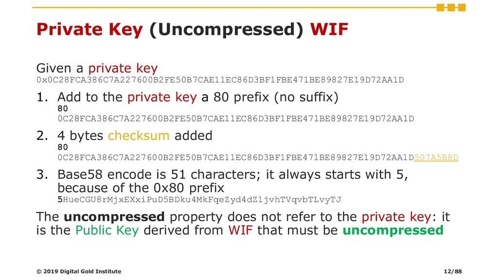 Private Key (Uncompressed) WIF Given a private ...