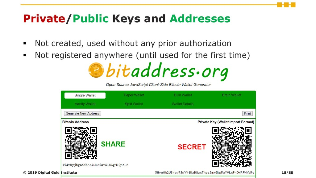 Private/Public Keys and Addresses ▪ Not created...