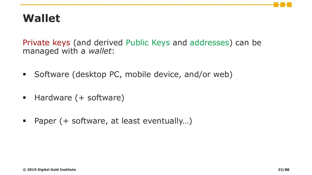 Wallet Private keys (and derived Public Keys an...