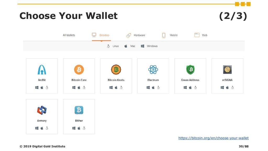 Choose Your Wallet (2/3) © 2019 Digital Gold In...
