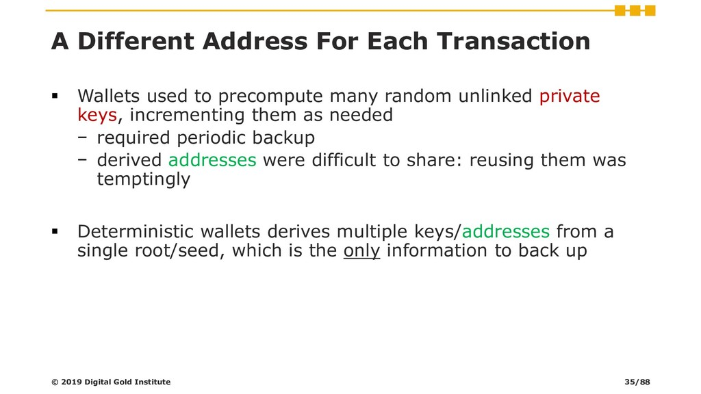 A Different Address For Each Transaction ▪ Wall...