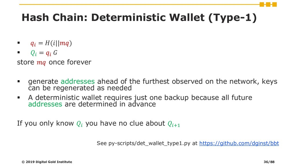Hash Chain: Deterministic Wallet (Type-1) ▪  = ...