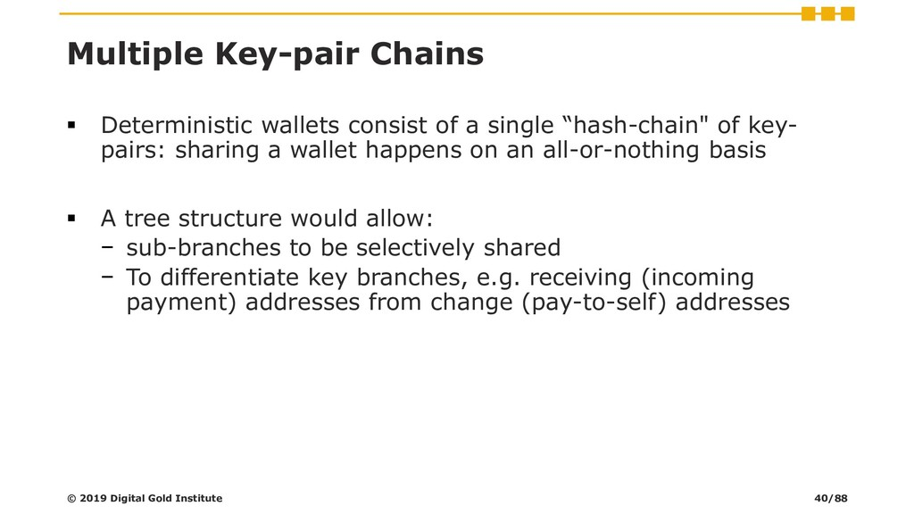 Multiple Key-pair Chains ▪ Deterministic wallet...