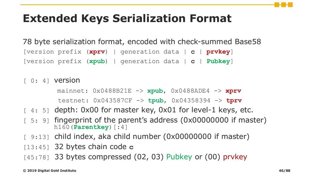 Extended Keys Serialization Format 78 byte seri...