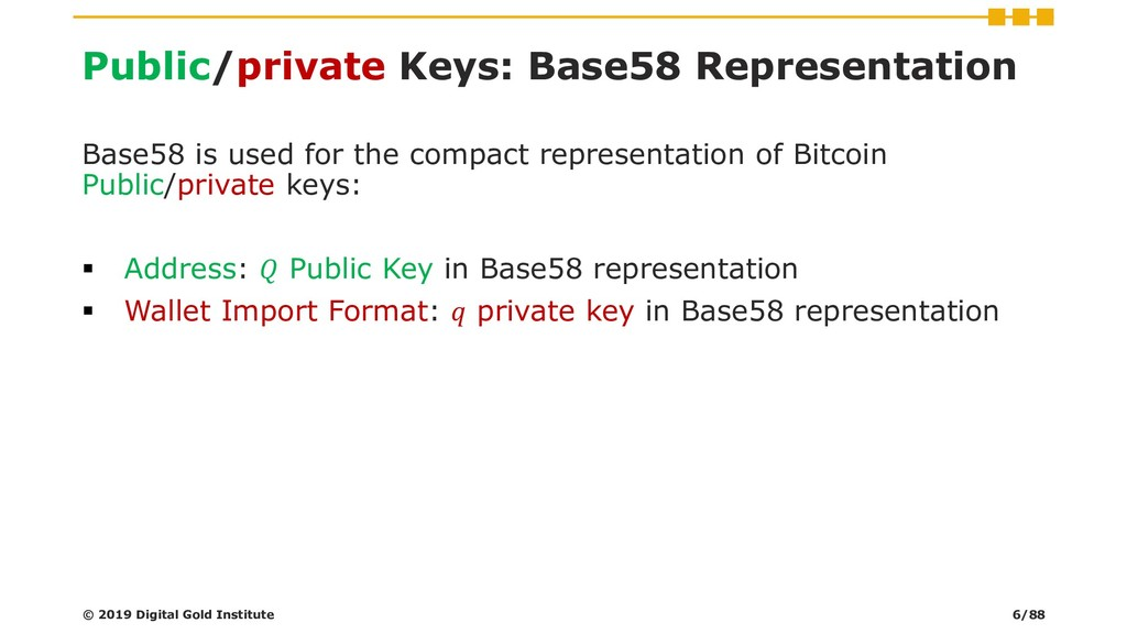 Public/private Keys: Base58 Representation Base...